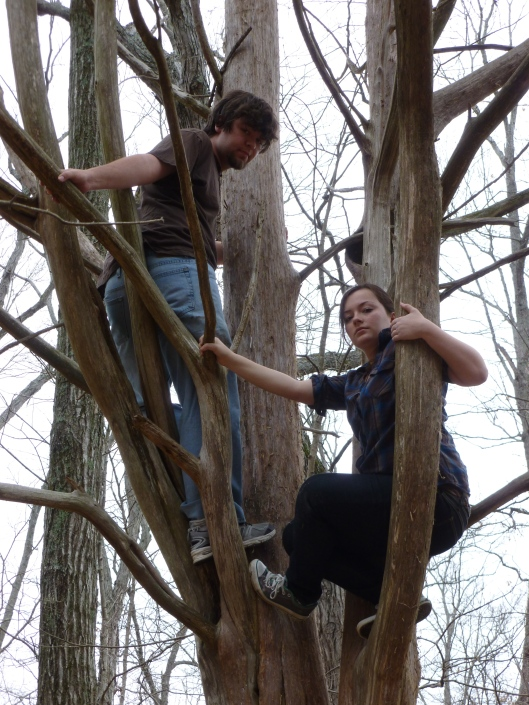 Amarth and Nym in a tree. I'm not a natural climber, so my feet look really awkward
